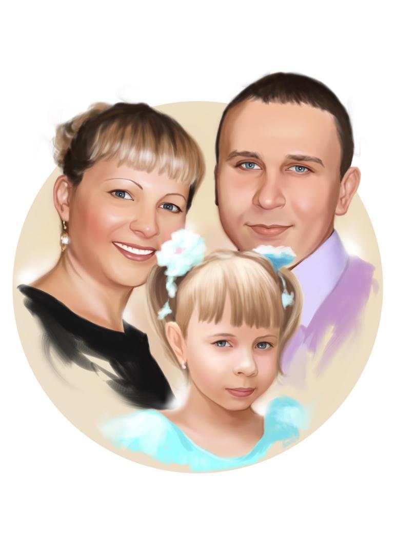 Семейный портрет по фото на холсте в Волгограде — правильный подарок!
