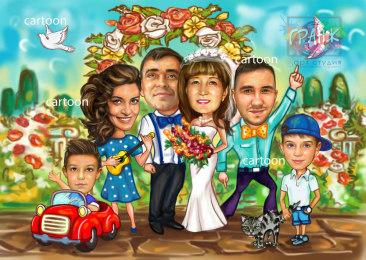 Шарж по фото на годовщину свадьбы на заказ в Волгограде…
