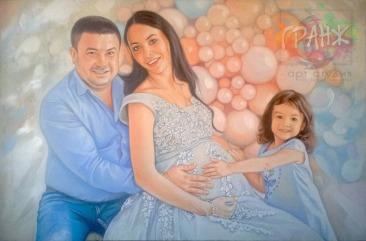 Заказать семейный портрет по фото маслом на холсте в Волгограде